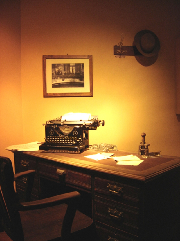 A typical student's desk. Okay, okay, perhaps the mechanical stamp is a step too far...